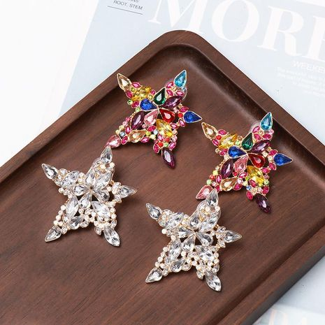 Pentagram color diamond micro-set earrings NHJJ156602's discount tags