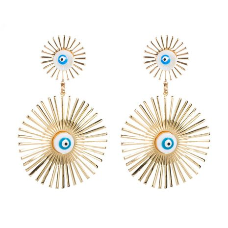 Geometric Devil's Eye Alloy Earrings NHLN156611's discount tags