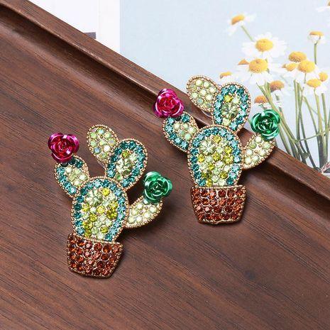 Colored diamond cactus earrings NHJJ156610's discount tags