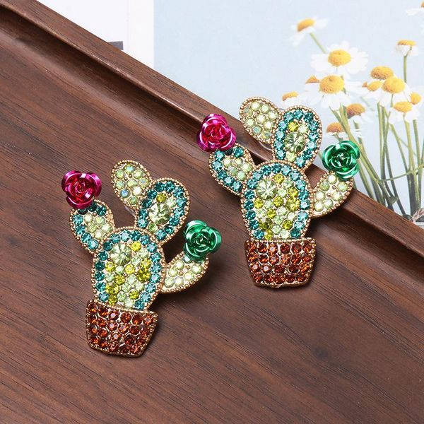 Colored diamond cactus earrings NHJJ156610