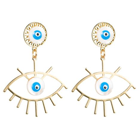 Eye shell alloy earrings NHLN156615's discount tags
