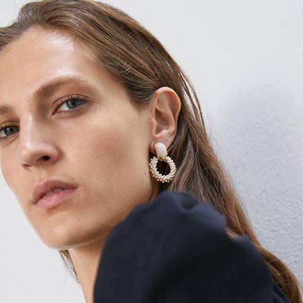 New Alloy Pearl Geometric Earrings NHJQ156618