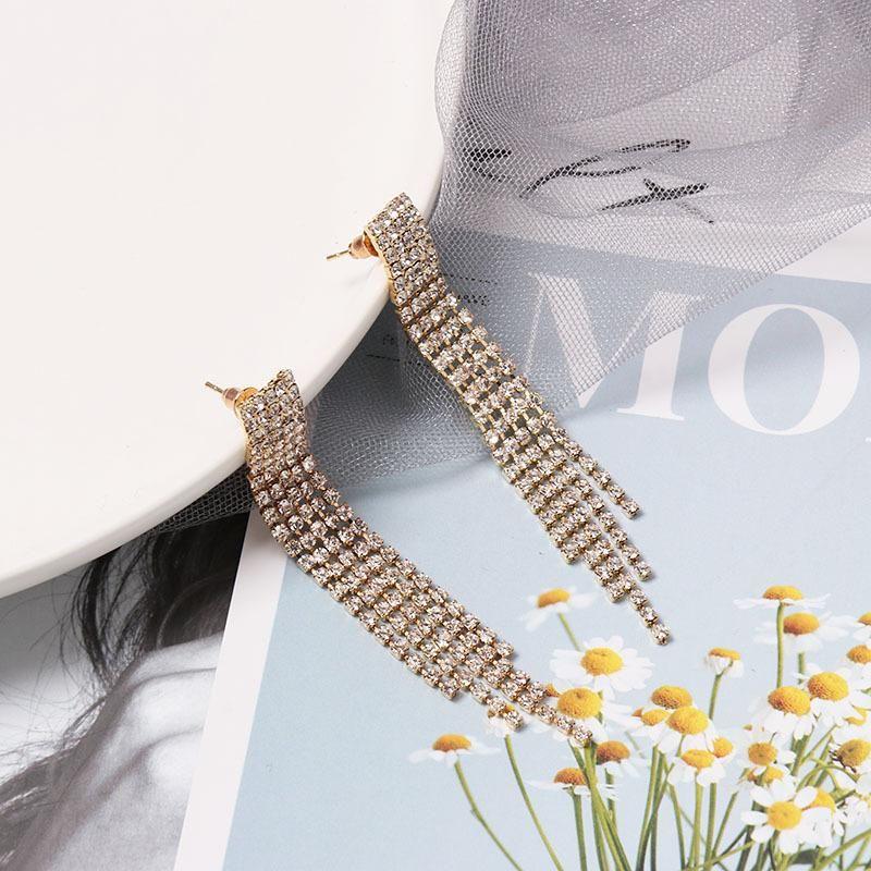Long full tassel earrings NHJJ156619