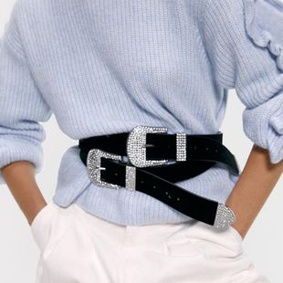 Simple solid color belt fashion alloy pin buckle waist chain NHJQ156629's discount tags