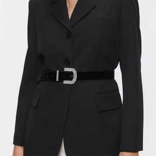 Alloy diamond round pin buckle belt simple wild waist chain NHJQ156630's discount tags