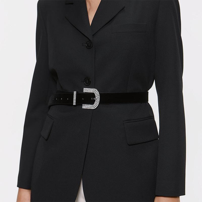 Alloy diamond round pin buckle belt simple wild waist chain NHJQ156630