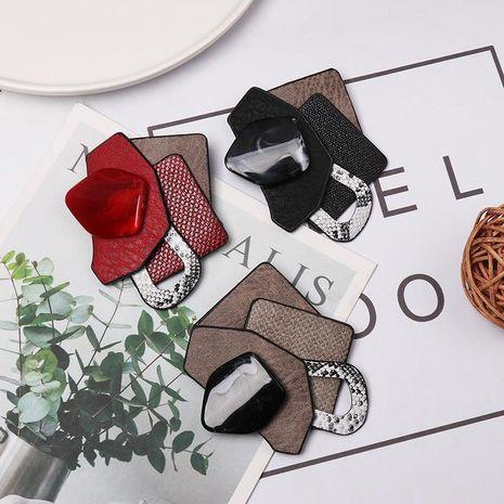 Stylish geometric diamond resin leather brooch NHJJ156640's discount tags