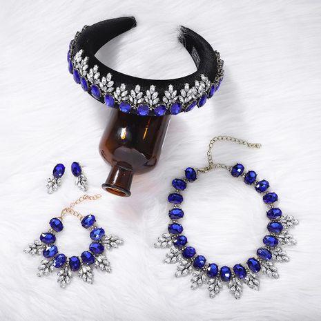 New Sponge Headband Diamond Earrings Necklace Bracelet Set NHJQ156643's discount tags