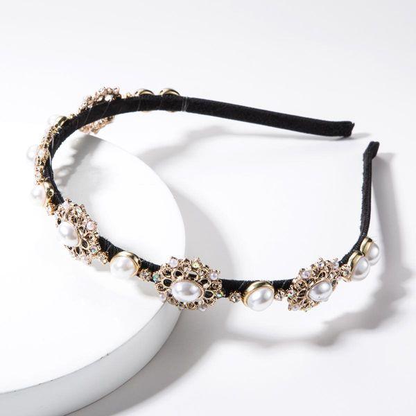 Diamante de imitación de diamantes de imitación con diadema de flores de perlas NHJE156652