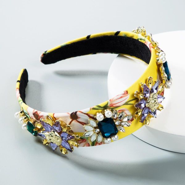 Baroque headband full of diamonds yellow flowers retro headband NHLN156656