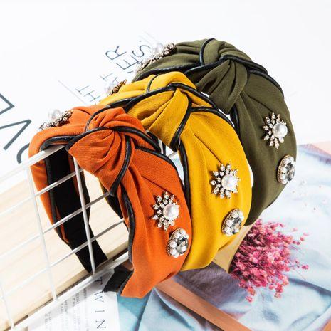 Fashion cloth star rhinestone pearl leather headband NHJE156661's discount tags