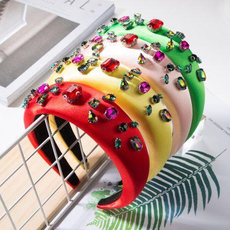 Fashion solid color fabric colorful diamond sponge headband NHJE156662's discount tags