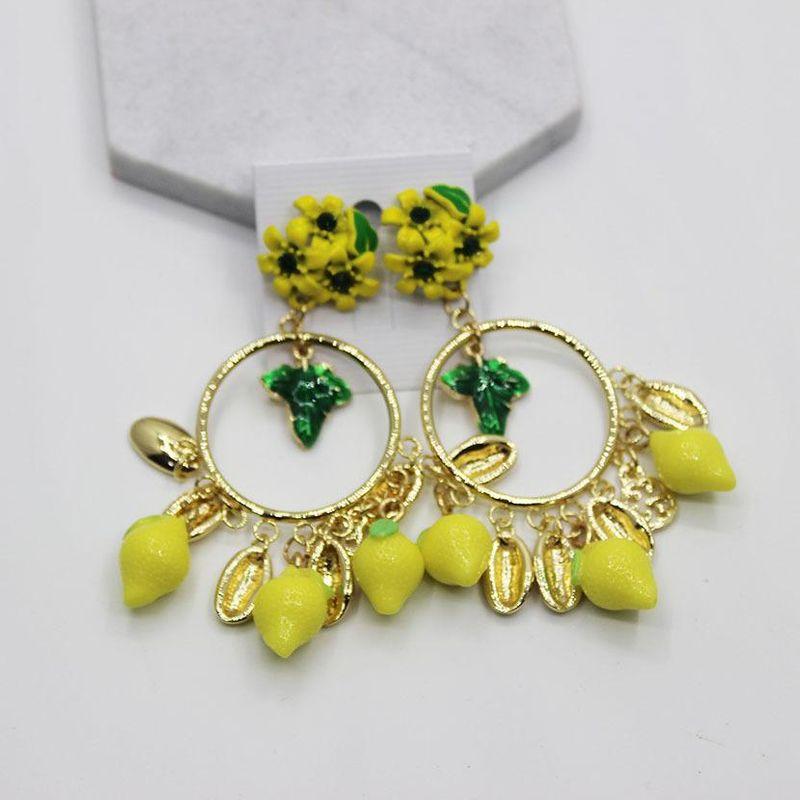 Fashion geometric fringed fruit flower big earrings NHWJ156693
