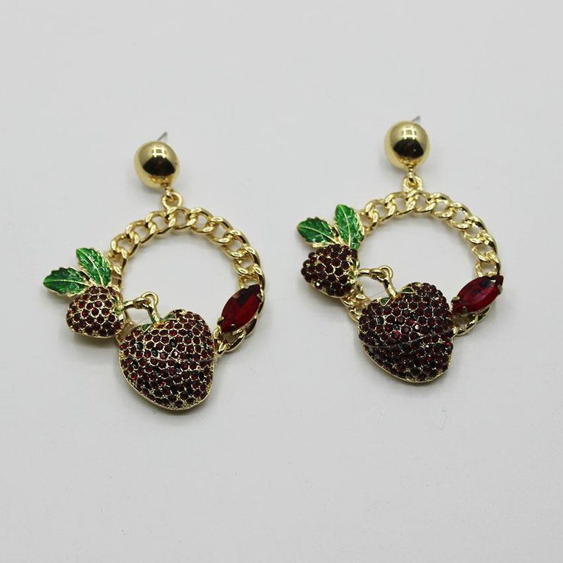 Baroque colored diamond cherry circle long earrings NHWJ156699