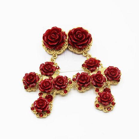Fashion cross large ceramic flower metal earrings NHWJ156709's discount tags