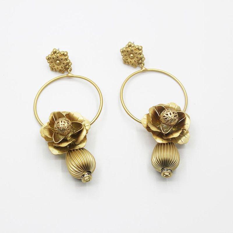 Vintage Metal Flower Circle Openwork Flower Earrings NHWJ156712