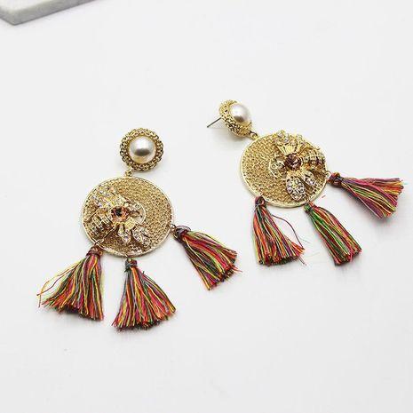 Artificial gemstone pearl round tassel alloy earrings NHWJ156719's discount tags