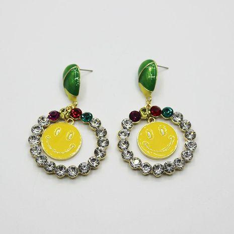 Baroque circle rhinestone smiley long earrings NHWJ156729's discount tags