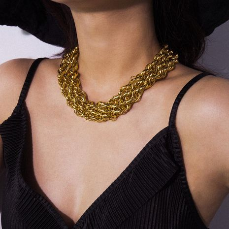 Vintage exaggerated multi-layer twist chain necklace NHXR156754's discount tags