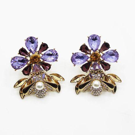 Fashion Baroque Diamond Gemstone Bee Earrings NHWJ156757's discount tags