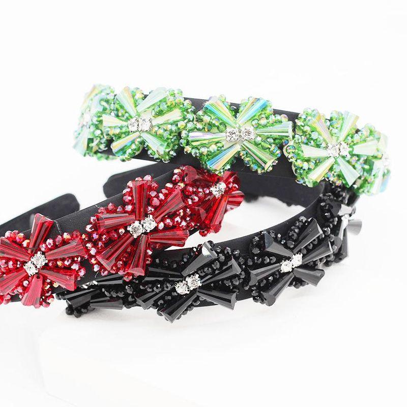 Fashion crystal sewing geometric flower headband NHWJ156789