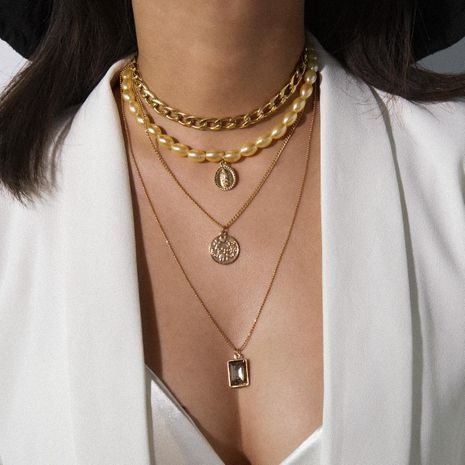 Retro Portrait Gemstone Multilayer Pearl Necklace NHXR156804's discount tags