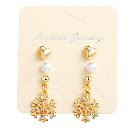 European and American new artificial gemstone snowflake earrings NHPJ156809's discount tags