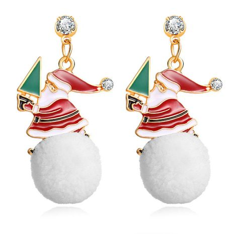 Creative Snowball Drop Oil Alloy Christmas Snowman Earrings NHPJ156811's discount tags