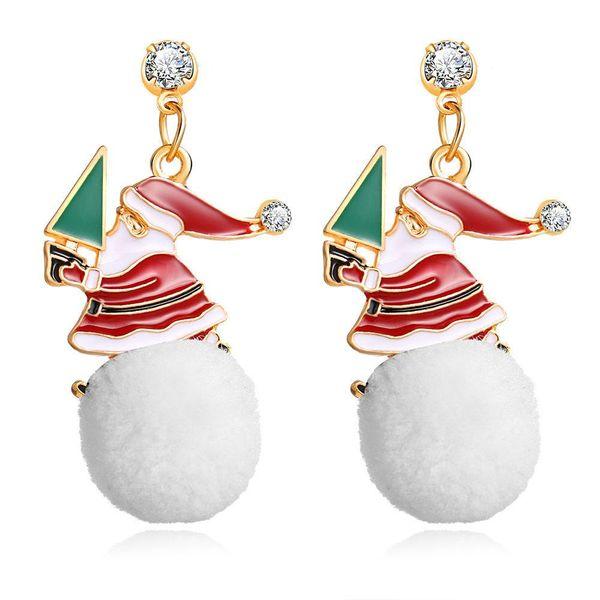Creative Snowball Drop Oil Alloy Christmas Snowman Earrings NHPJ156811
