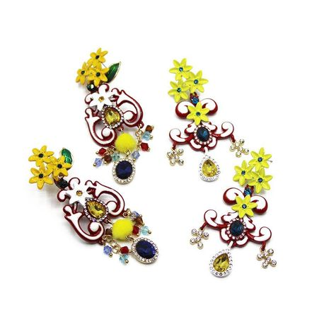 Fashion flower circle pulley set with gemstone earrings NHWJ156819's discount tags