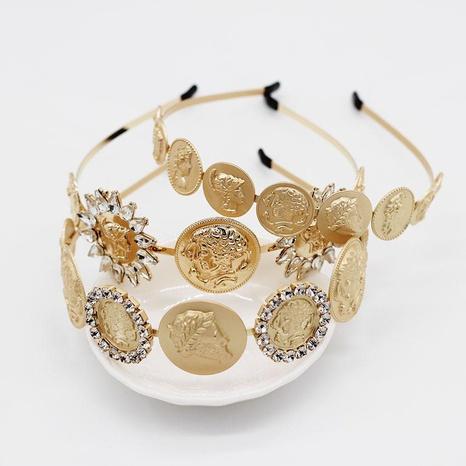 Diadema de metal con gema de diamantes geométricos con cabeza de belleza vintage NHWJ156821's discount tags