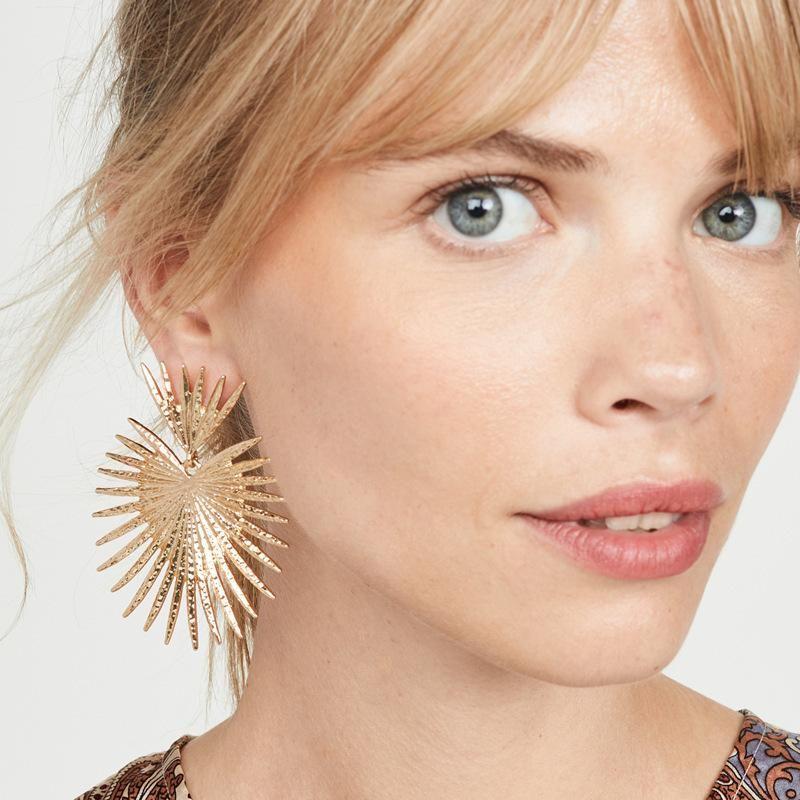 Simple fanshaped exaggerated tassel geometric earrings NHXR156826