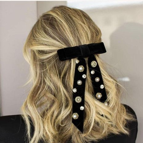 Fashion temperament bow tassel pearl artificial gemstone hair accessories NHWJ156845's discount tags