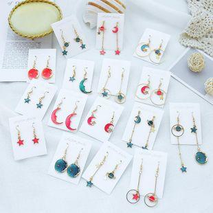 Ocean blue ins wind moon cosmic earrings NHSD156850's discount tags