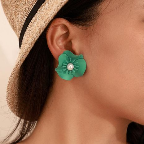 Fashion candy color pearl flower earrings NHGY156852's discount tags