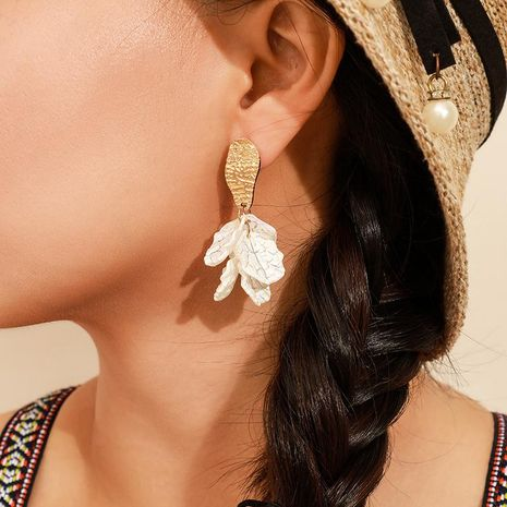 New white petal long earrings NHGY156874's discount tags