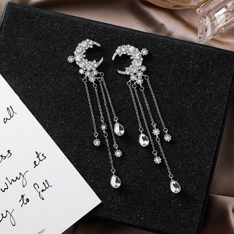 Long multi-layer tassel-studded alloy earrings NHMS156886's discount tags