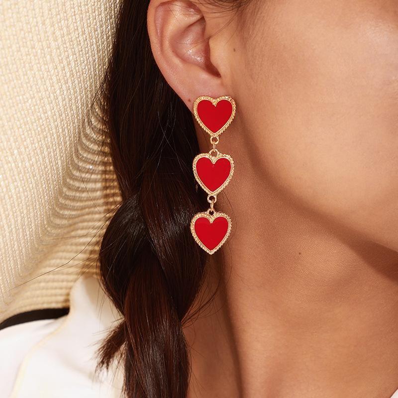 Simple drop oil red heart earrings NHGY156889