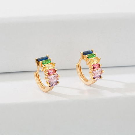 Colored square zircon copper hoop earrings NHLL156890's discount tags
