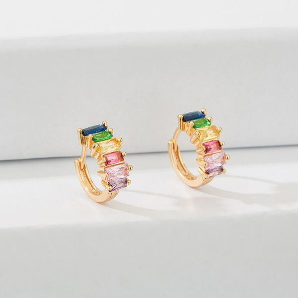 Colored square zircon copper hoop earrings NHLL156890