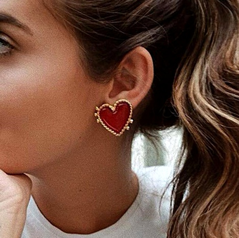 Drip red heart-shaped stud earrings NHGY156905's discount tags