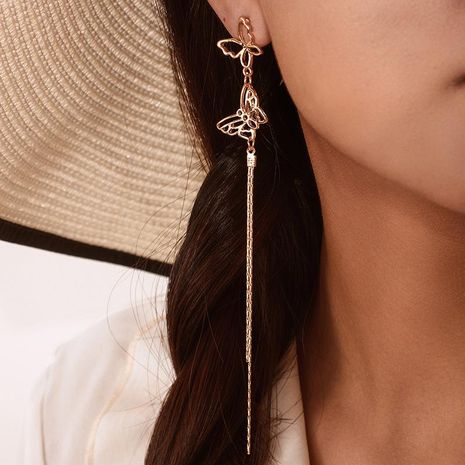 Fashion golden openwork butterfly earrings NHGY156909's discount tags