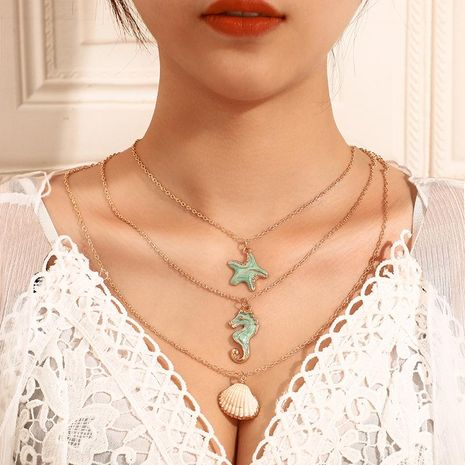 Seahorse Shell Starfish Multilayer Necklace NHGY156913's discount tags