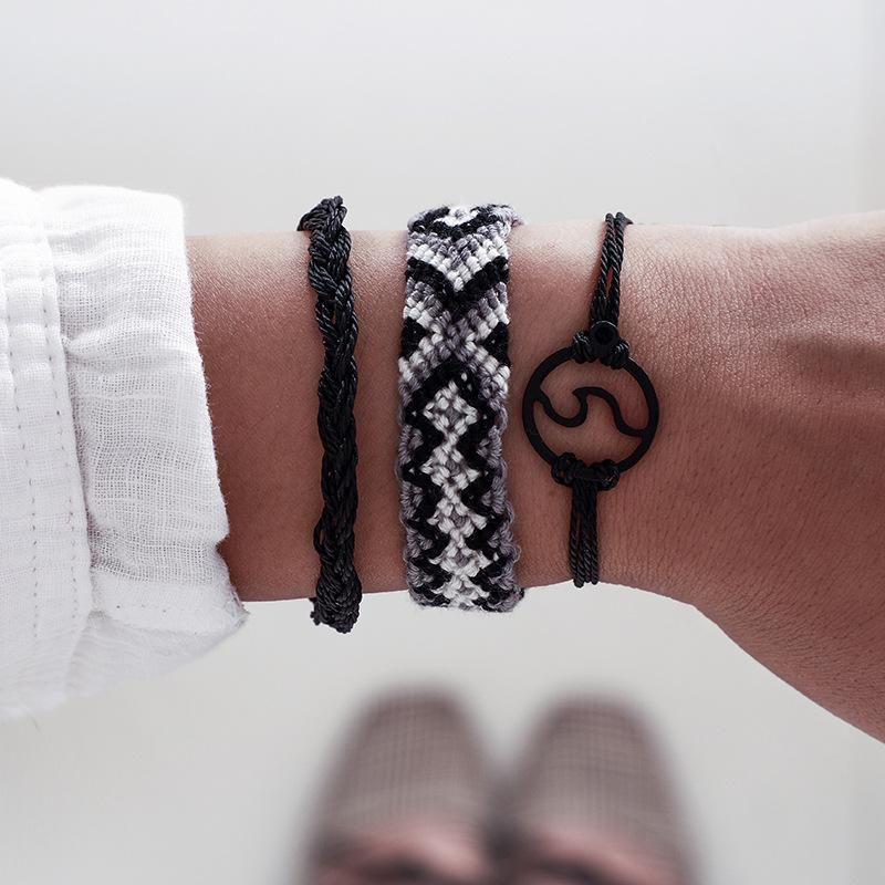 Handmade wire rope woven wide side spray bracelet set NHGY156921
