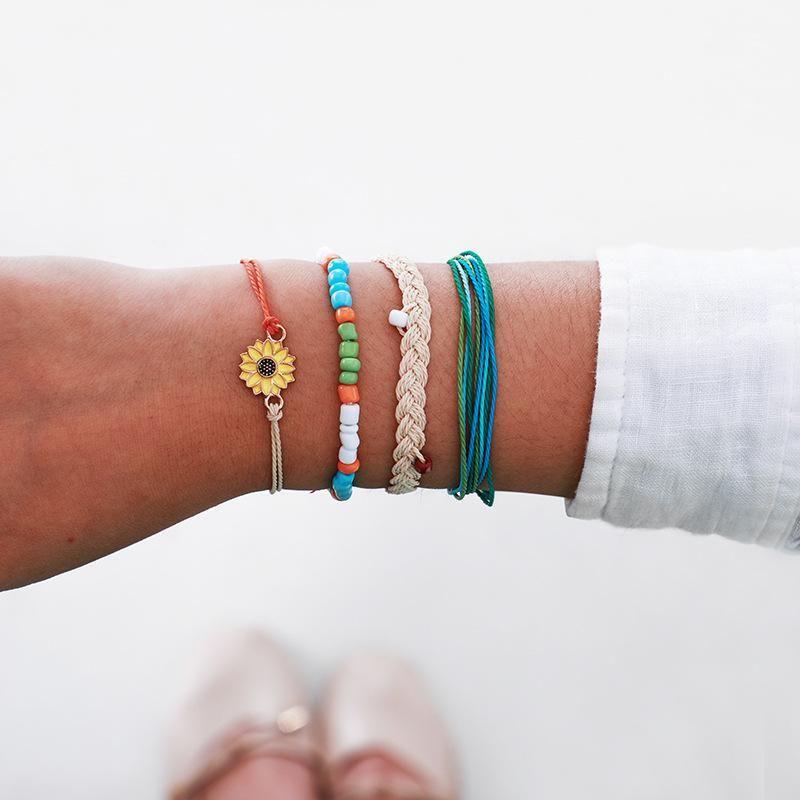 Wax rope weave sun flower bracelet set NHGY156922