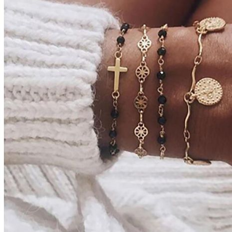 Alloy cross round chain bracelet set NHGY156925's discount tags
