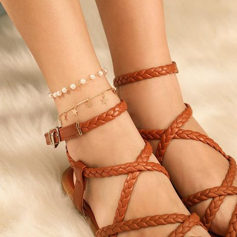Fashion bead alloy chain star anklet NHGY156927's discount tags