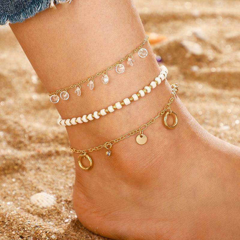 New beaded round tassel multi-layered anklet NHGY156928