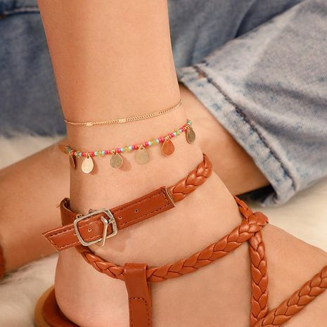 Fashion color beads tassel double anklet NHGY156929's discount tags