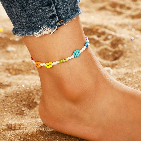 Colored beads flower anklet NHGY156931's discount tags
